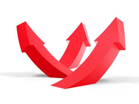 flechas curvas: flecha roja curva hacia arriba aislados en fondo blanco Foto de archivo