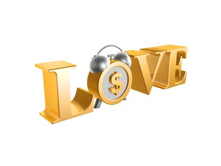 golden love dollar clock on white  photo