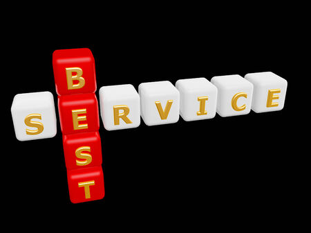 client service: best service cross word isolated on dark  Stock Photo