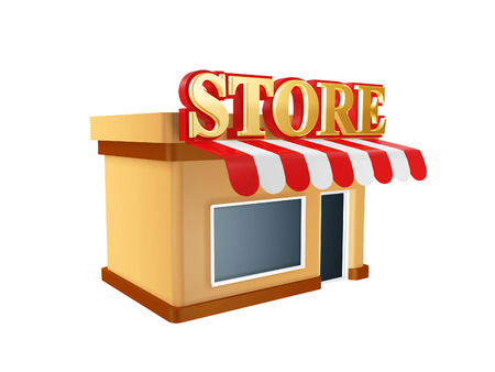 hot store shop isolated on white background photo
