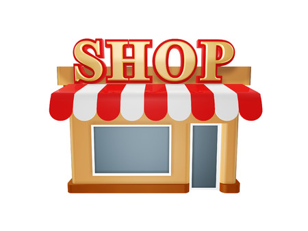 small business concept: hot store shop isolated on white background Stock Photo