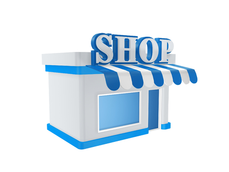 small business concept: cool store shop isolated on white background
