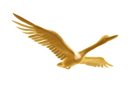 goldenen Wildgans Flug isoliert auf weißem Hintergrund