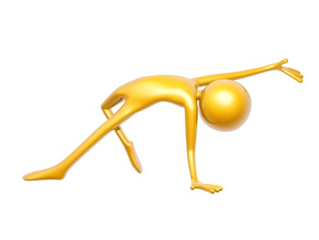 gold woman: golden guy doing yoga training isolated on white background 3d illustration