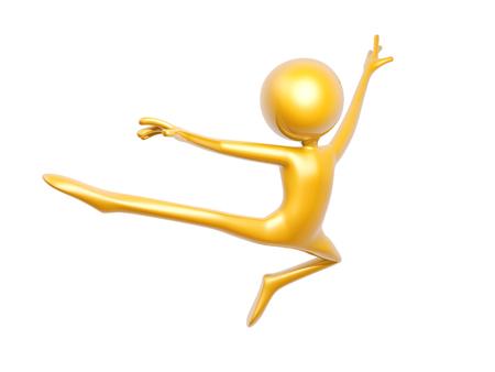 Hombre de oro haciendo gimnasia aislada sobre fondo blanco ilustración 3d Foto de archivo - 64798478
