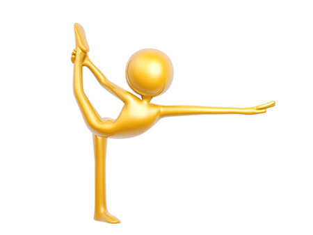gymnastics: golden guy doing yoga balance pose isolated on white backgroud 3d illustration Stock Photo