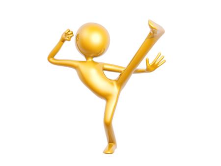 kungfu: golden kungfu guy kick up pose isolated on white background 3d illustration Stock Photo