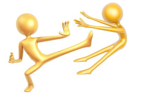 kungfu: golden kungfu guy fighting pose isolated on white background 3d illustration Stock Photo