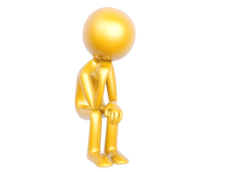 golden thinker guy front view isolated on white background 3d illustration