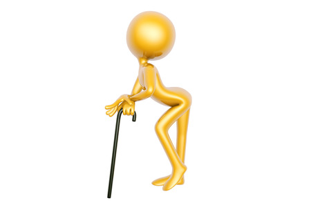 pageant: golden guy dance with stick isolated on white background 3d illustration Stock Photo