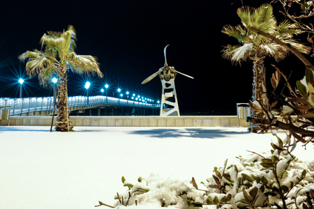 Pier Francavilla al Mare blanketed in snow