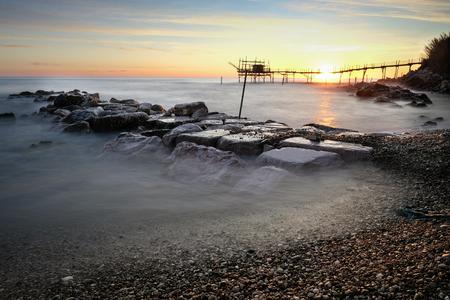 Seascape of Trabocco Turchino in Abruzzo, Italy