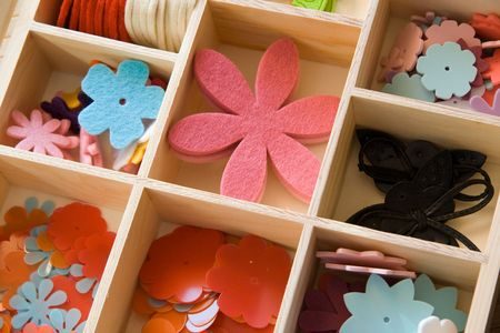 brads: a selection of scrapbooking  craft materials Stock Photo