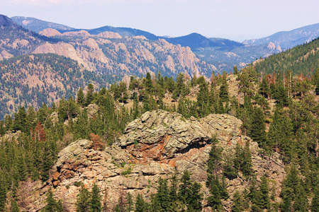 colorado rocky mountains: Colorado Rocky Mountains with large rock formation.