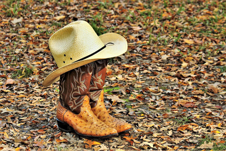 Yellow straw cowboy hat resting on ostrich boots, sitting on the ground surrounded by autumn leaves.
