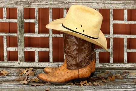 Cowboy hat resting on top of cowboy boots, on a weathered wood background.