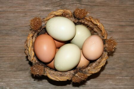 Close-up top view of green and brown eggs in a round basket, setting on a wood grain background.
