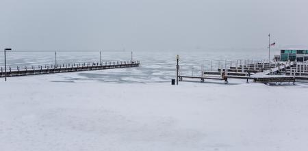lake front: winter landscape boat dock chicago lake front