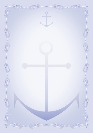Anchor. Blue blank with border Stock Photo