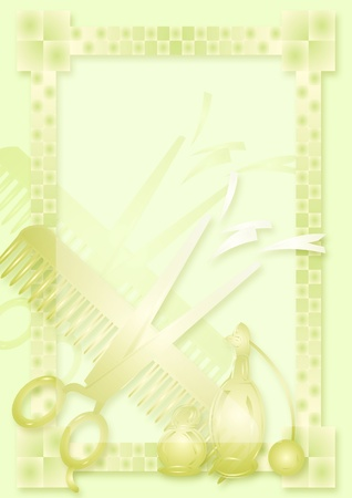 Scissors. Green blank with border photo