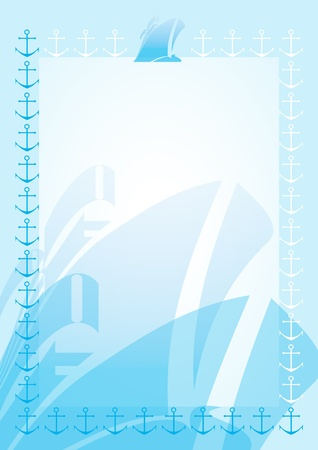 Cruise. Blue blank with border