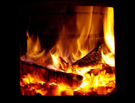 Fire flames in dark room