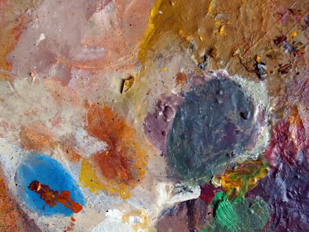 Oil paint, fragment of dirty pallete