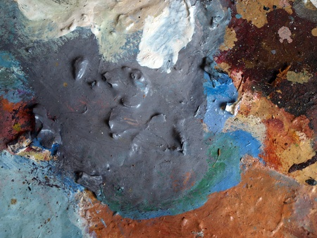 Oil paint, fragment of dirty pallete  photo