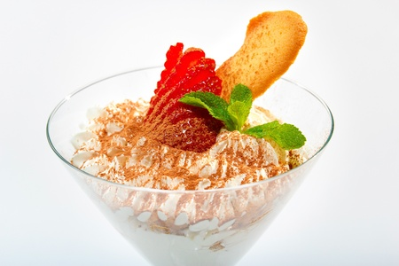 Ice cream with strawberries and cookies photo