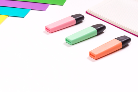 drawing accessories markers and paper workspace white background