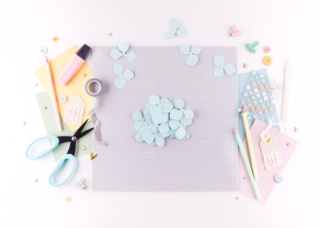 Scrapbooking master class. Diy. Make a spring decor for interior - floral wreath made of paper. Pastel colors. Women's hobby. Step by step