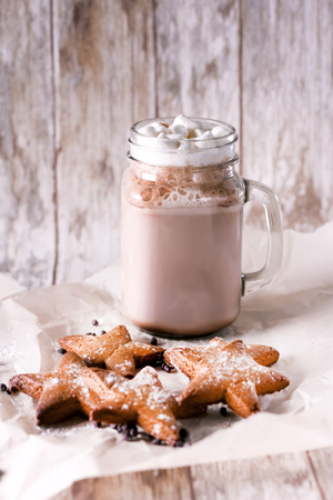 Marshmallow cocoa with ginger biscuits. Stock Photo