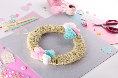 Making diy project. Knitting decoration. Craft tools and supplies. Season home valentines day decor Stock fotó