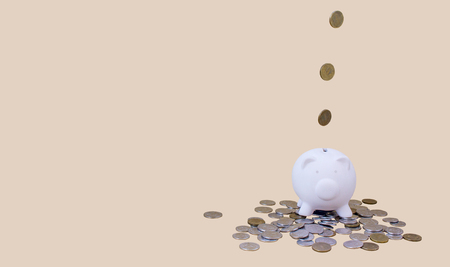 piggy bank with money and coins, for illustrations of articles on economics, finance, family budget, purchases, copy space
