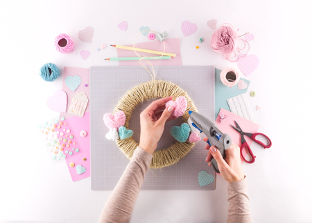 Making diy project. Knitting decoration. Craft tools and supplies. Season home valentines day decor Stock Photo