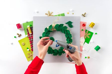 DIY instruction. Making a Christmas wreath from felt. Craft tools and supplies. Step 5