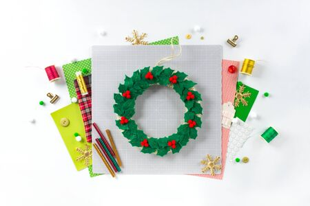 DIY instruction. Making a Christmas wreath from felt. Craft tools and supplies. Step 7 - Final.