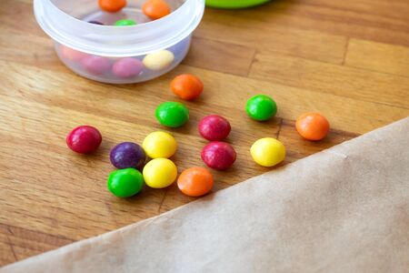 Cooking together at home. Stay and safe. Isolation. Make homemade cookies with colored pills