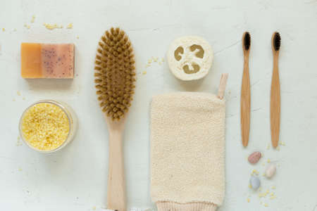 Zero waste, natural organic bathroom tools. No Plastic free life. Ecological skin care, body treatment concept. Conscious Minimalism Vegan Lifestyle. Reduce Reuse Recycle