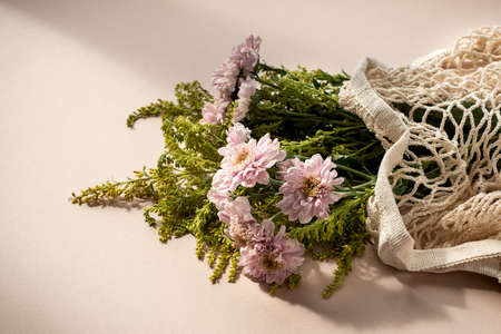 Beautiful bouquet of pink chrysanthemum flowers in a mesh bag on pale pink beige background.