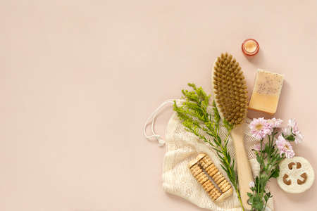 Eco-friendly beauty products, natural organic bathroom tools. No Plastic free life. Ecological skin care, body treatment concept. Conscious Minimalism Vegan Lifestyle. Reduce Reuse Recycle. Reklamní fotografie