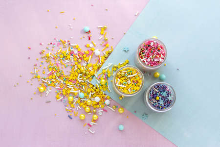 Sugar sprinkles, decoration for cake and ice-cream and cookies. Reklamní fotografie