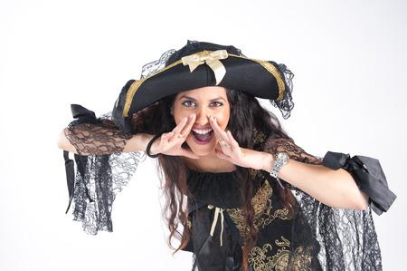studio photography: Pirate woman studio photography white screen