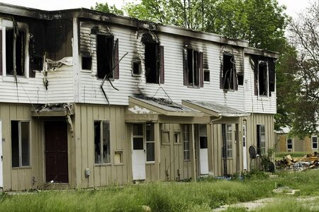 burned out: Burned out apartment buildings ready for demolition