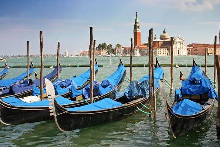 Gondolas moored by the Piazzetta di San Marco in Venice with the Isola di San Giorgio Maggiore across the canal in the background Stock Photo - 5109013