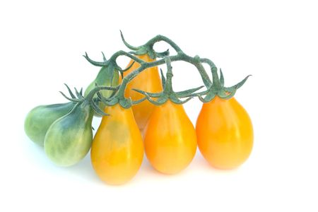 heirloom: Cluster of green and ripe tomatoes of the heirloom cultivar Yellow Pear against a white background Stock Photo