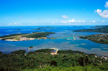 micronesia: The runway of Pohnpei International Airport near the capital city of Kolonia, Federated States of Micronesia, viewed from Sokehs Island Stock Photo