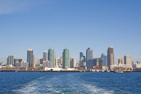 Port of San Diego with the skyline of the city in the background viewed from the water Stock Photo