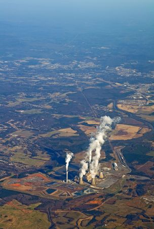 Aerial view of a power generating plant near Atlanta, Georgia vertical Stock Photo
