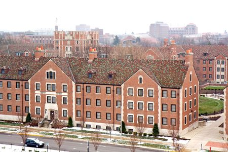 View of the buildings and skyline on the campus of Purdue University, West Lafayette, Indiana, with snow and cloudy skies in winter photo